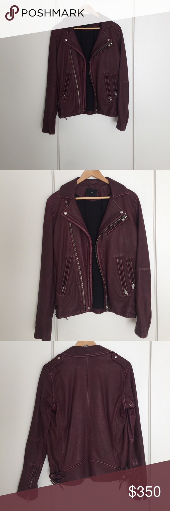 IRO A/W 15 Leather Jacket 100% lamb leather biker jacket. It doesn't have the original tags on it but has only been worn 1-2 times. It's a rich burgundy / oxblood. Size XS IRO Jackets & Coats