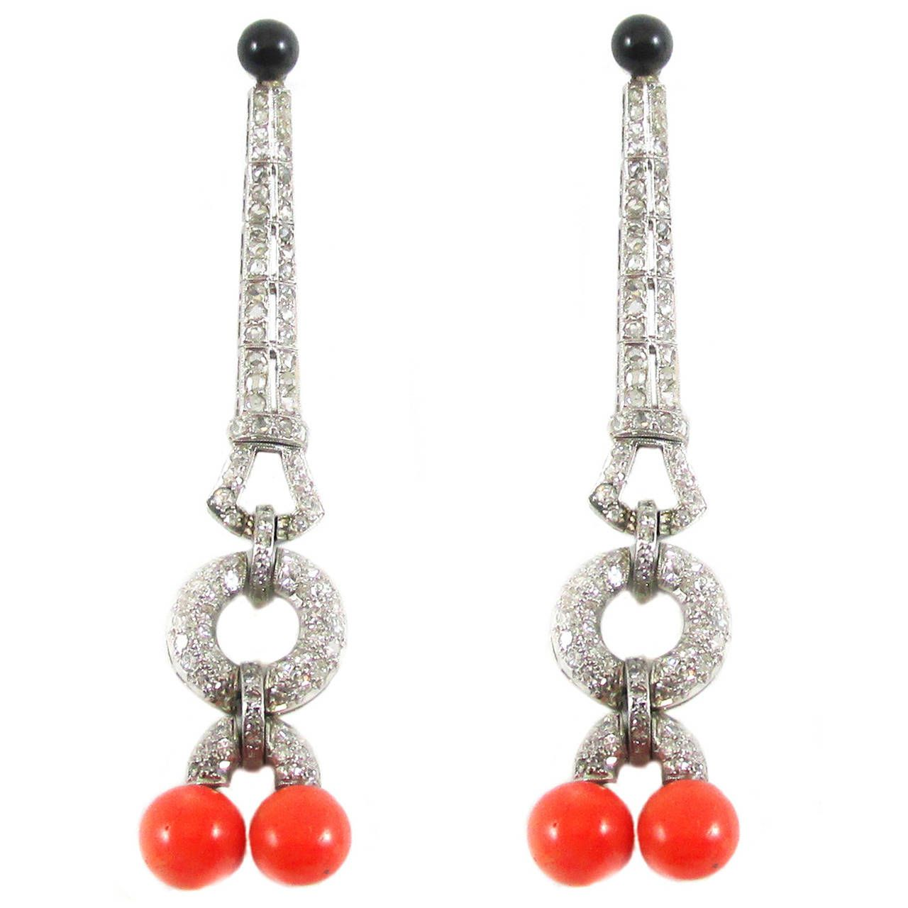 Art Deco Coral Onyx Diamond Platinum Earrings | 1stdibs.com