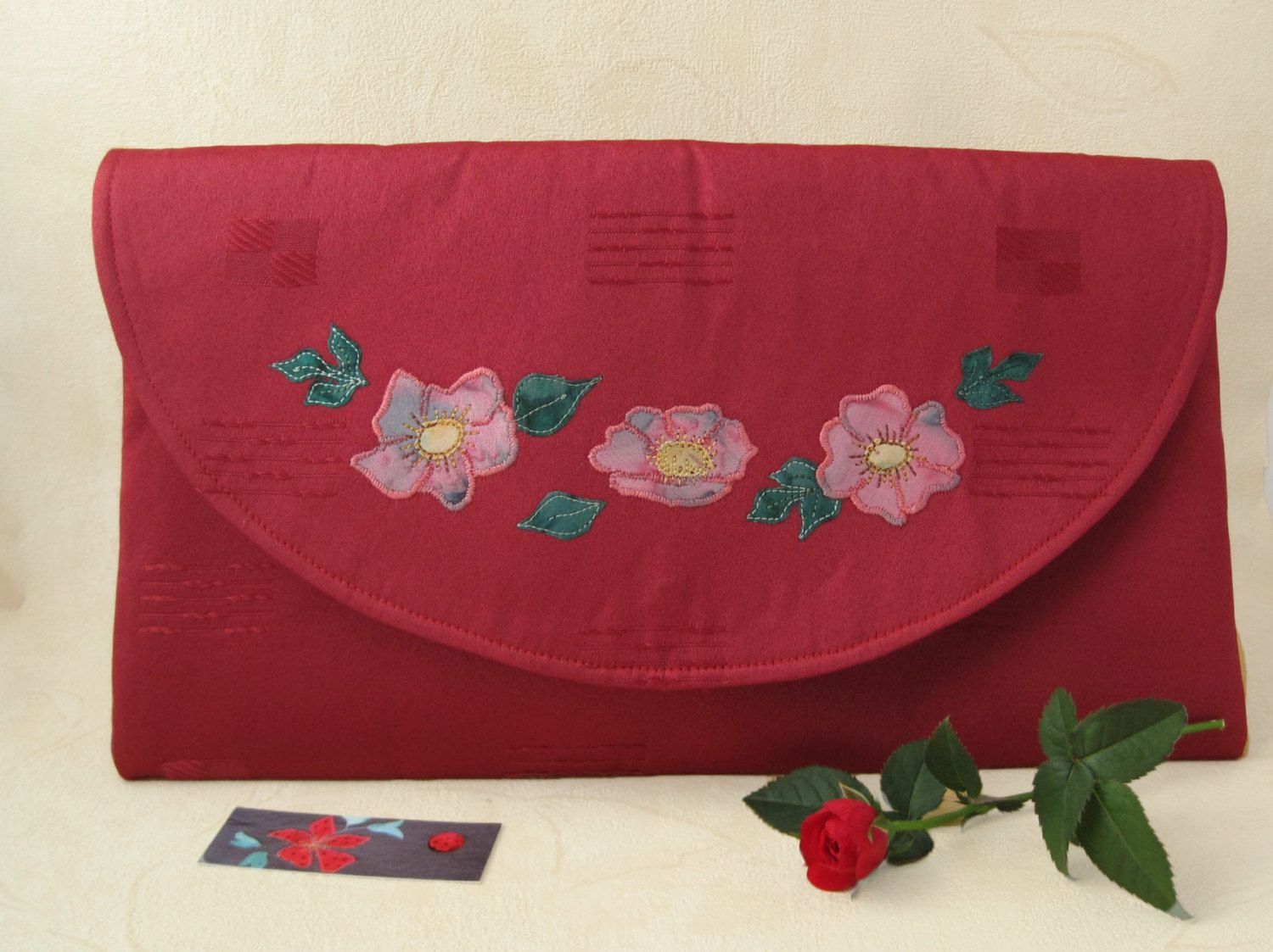 Red fabric clutch bag vintage style purse red envelope clutch