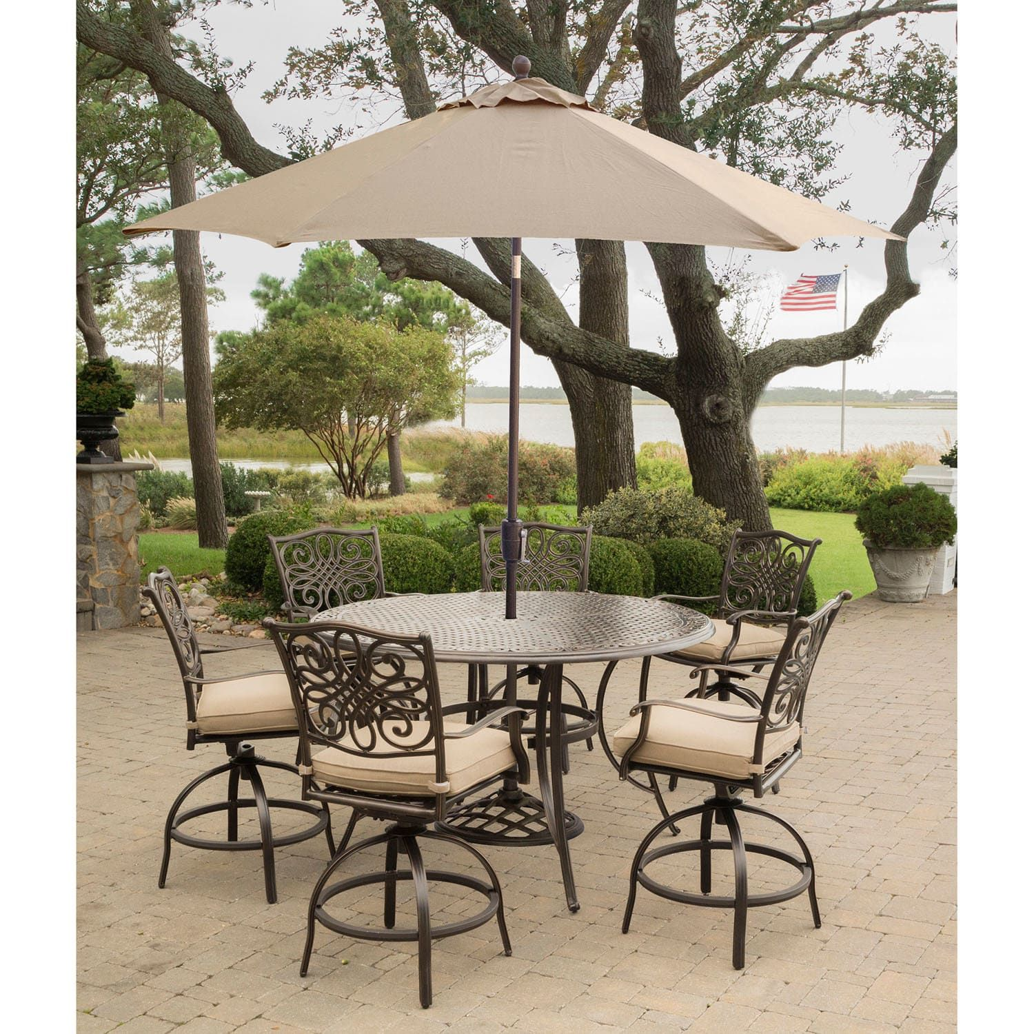 Hanover Traditions 7 Piece High Dining Bar Set in Tan with 9 Ft
