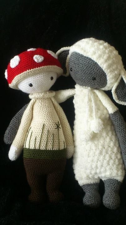 PAUL the toadstool and LUPO the lamb made by Demi DeW. / crochet patterns by lalylala