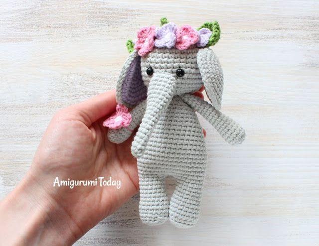 Crochet Pattern Amigurumi Elefantino schema uncinetto | Etsy | 494x640