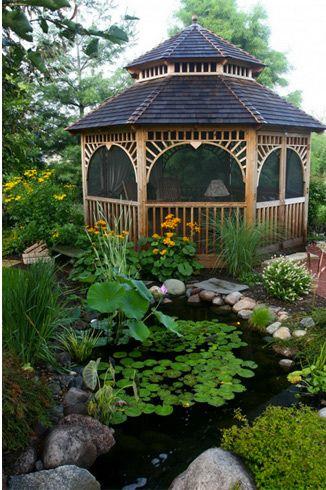 Gazebo para jardin con estanque jardiner a y dise os for Jardineria al aire libre casa pendiente