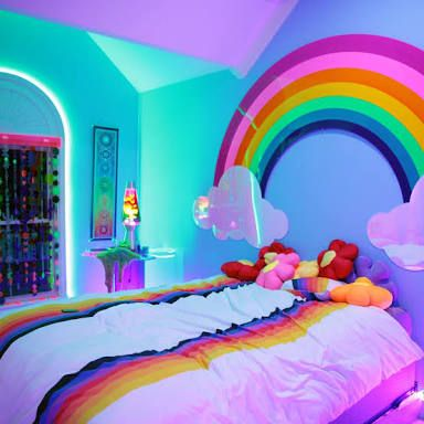 Image Result For 9year Old Girls Bedrooms Fairy Lights Rainbow Bedroom Rainbow Room Little Girl Rooms