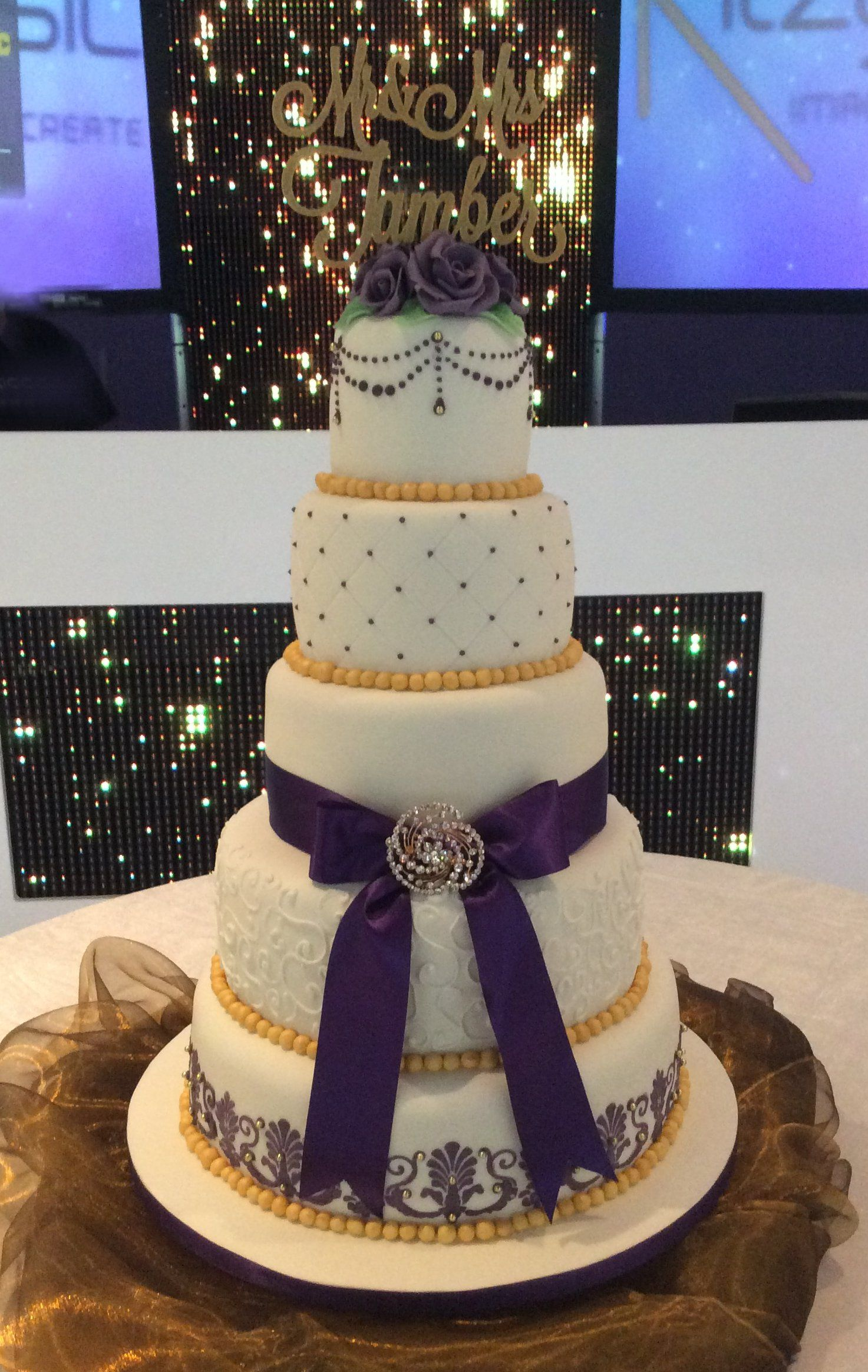 Geeta 5 Tier Purple Gold Theme Cake With Personalised Topper