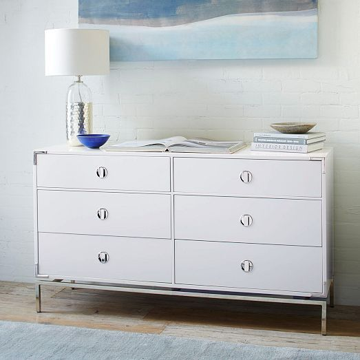 Malone Campaign 6 Drawer Dresser White Lacquer 6 Drawer Dresser Furniture Dresser Drawers