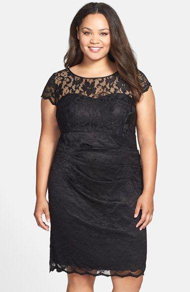 cb3b41ad Eliza J Side Ruched Stretch Lace Sheath Dress (Plus Size)   lækkert ...