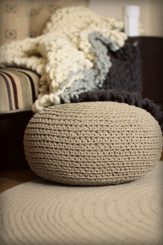 Organic, Crochet Pouf, Linen Pouf, Knit Pouf, Floor Cushion, Hypoalergic  Pouf