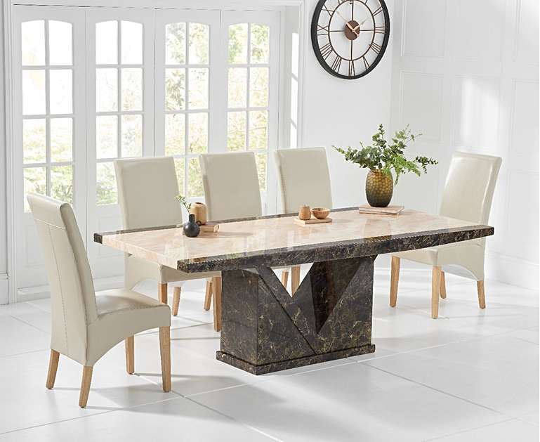 Carvelle 200cm Brown Pedestal Marble Dining Table With Freya