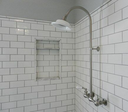 White Subway Tile Shower With Exposed Shower Set Grey
