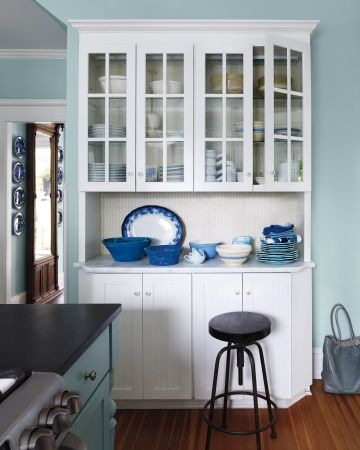 The Kitchen Was First Room To Get Blue Makeover Raus Lined Back Of A White Cabinet With William Morris Wallpaper