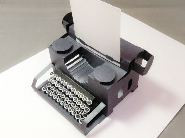 Typewriter Pop Up Card Handmadeology Market Paper Pop Pop Up Cards Pearlescent Paper