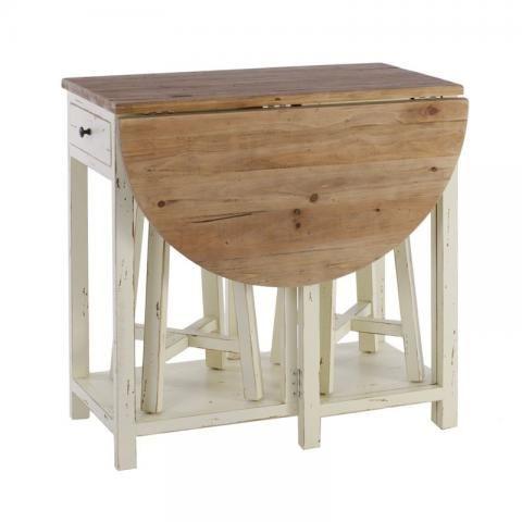 Mesa redonda plegable y 2 taburetes madera crema for Mesa redonda de madera para cocina