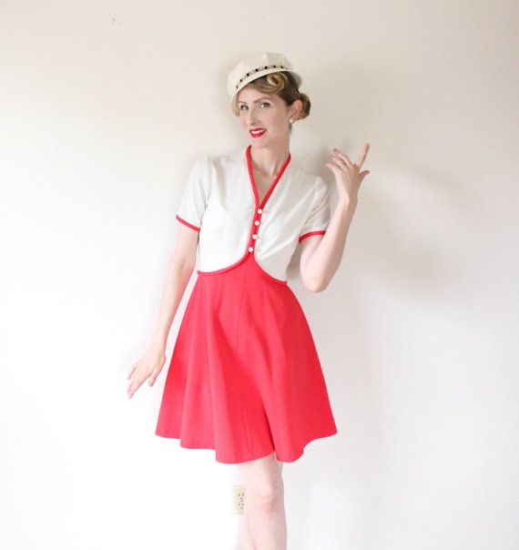 1960's DressVINTAGE Cherry red Cream Pin Up by HighHatCouture, $38.00