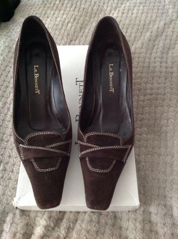 d8b18158a4 L K BENNETT Womens Brown Suede Court Shoes Kitten Heel Size UK 6 EUR 39 -  Kitten