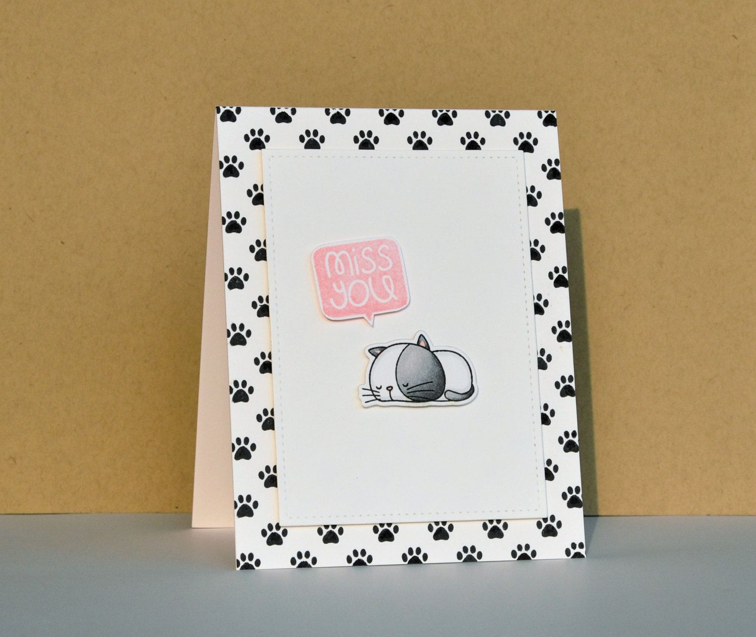 Miss you greeting card hand stamped miss you card cat miss you miss you greeting card hand stamped miss you card cat miss you kristyandbryce Image collections