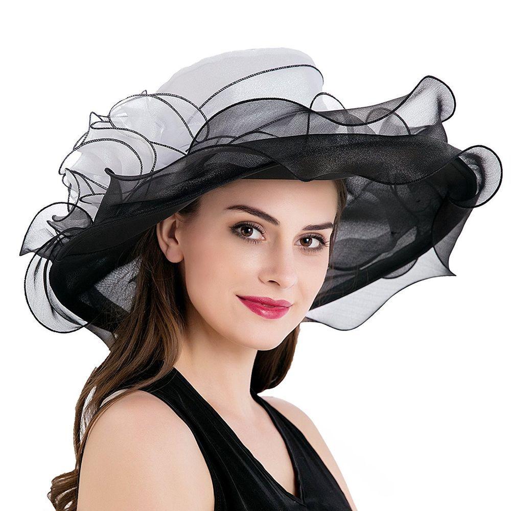 ab5cbcf9 Dantiya Womens Kentucky Derby Church Summer Organza Wide Brim Party Wedding  Hat | eBay