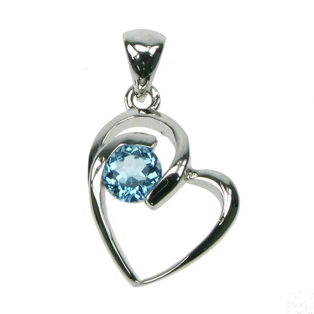 Sterling silver blue topaz heart pendant from astral aspects