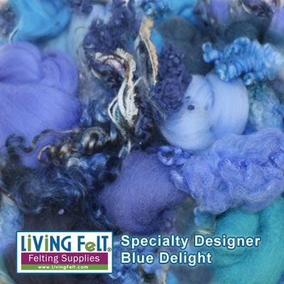 Blue Delight Collection - Specialy Surface Design Felting Packs of Wool and other goodies for felting