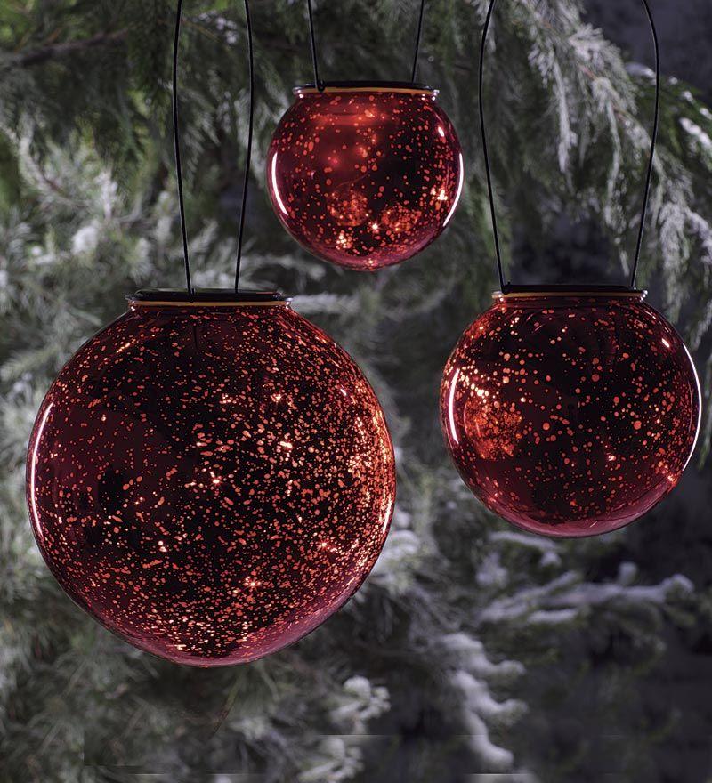 Solar Powered Mercury Glass indoor/outdoor lit ornaments
