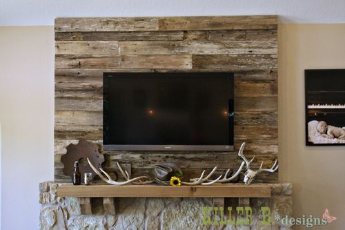 Barn Wood Accent Wall for the Fireplace | Lets make a home ...