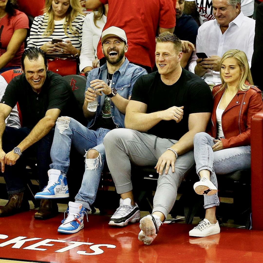 2f6642bb336e Justin Timberlake wears Off-White x Air Jordan 1 UNC Sneakers and JJ Watt  in Bait x Reebok DMX Run 10 Sneakers