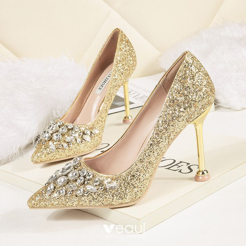 Sparkly Gold Evening Party Pumps 2020 Rhinestone Sequins 9 Cm Stiletto Heels Pointed Toe Pumps Silver Wedding Shoes Crystal Wedding Shoes Elegant Wedding Shoes
