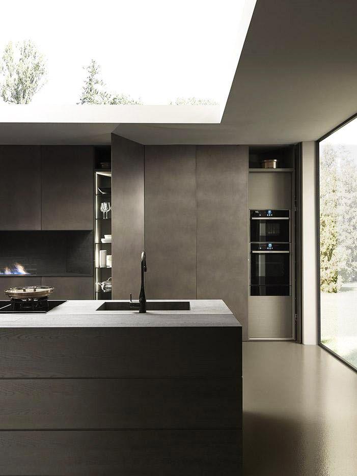Cuisine en bois, céramique et aluminium Blade Composition 3