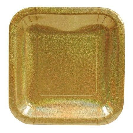 Glitter Glitz Gold 7 Inch Square Paper Plates 4 95 Per Package Plastic Party Supplies Cheap Party Supplies Wedding Plates