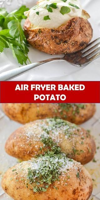 #recipe #food #drink #delicious #family #Air #Fryer #Baked #Potato #RecipeTasty healthy food and drink that you definitely like Air Fryer Baked Potato Recipe - Baked Garlic Parsley Potatoes Air Fryer Baked Potato covered with a parsley garlic salt rub. Making Air Fryer Baked Potatoes will be your new favorite way to use your air fryer.  Ingredients 3 Idaho or Russet Baking Potatoes 1-2 Tablespoons Olive Oil 1 Tablespoon Salt 1 Tablespoon Garlic 1 Teaspoon Parsley Instructions 1. Wash your potato #russetpotatorecipes