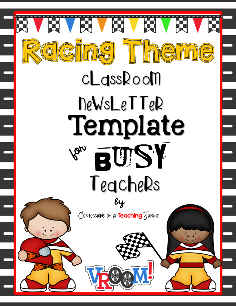 racing theme newsletter template for busy teachers. Black Bedroom Furniture Sets. Home Design Ideas