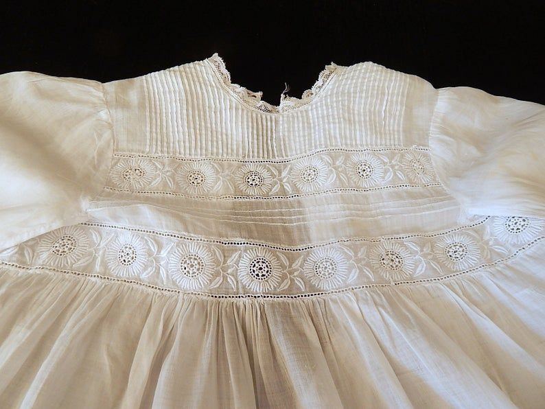 Tulle-Delicate Embroideries-Flowers-HEIRLOOM-Vintage France-Handmade. Beautiful Embroidered Baby Dress