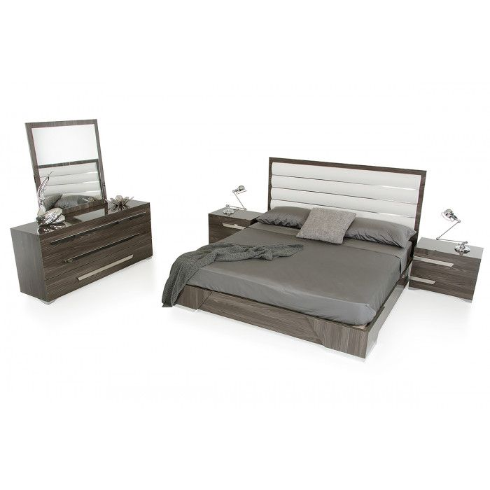 Queen Nova Domus Capulet Italian Modern Grey Bedroom Set Grey - Italian Bedroom Sets