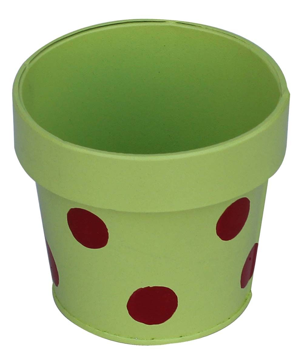Bulk Wholesale Handmade Metal Planter in Green Color with Red Polka ...