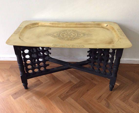 Brass Top Coffee Table Vintage Moroccan Folding Leg Mid Century