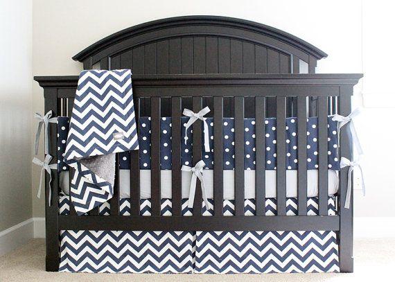 Modern Navy Blue Crib Bedding Set Gray Baby Boy Sheet Chevron Skirt Minky Blanket