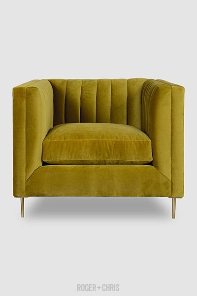 Harley Channel Tufted Shelter Arm Chair In Como Verde Velvet With Br Legs Sofa