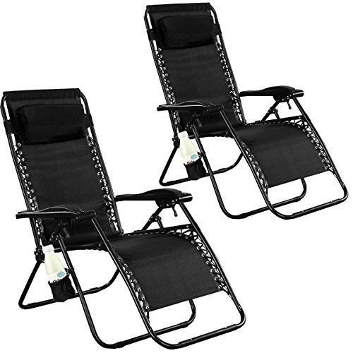 Bon Goplus 2PC Zero Gravity Chairs Lounge Patio Folding Recliner Outdoor Yard  Beach With Cup Holder(