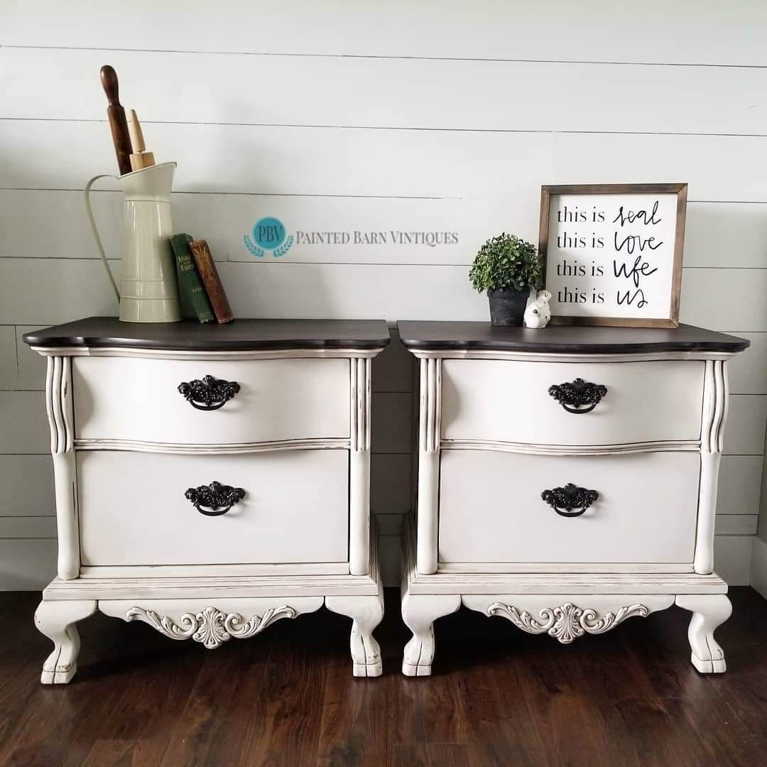 For These Nightstands I Used Dixie Belle Chalk Paint In Fluff Satin Top Coat And Best Dang Wax In B Painted Night Stands Redo Furniture Chalk Paint Furniture