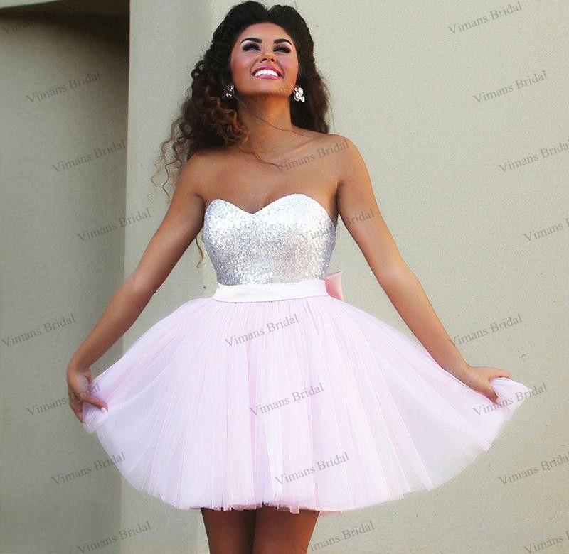 Discount Cheap Hot Sale Short Prom Dresses Sweetheart Top Sequins