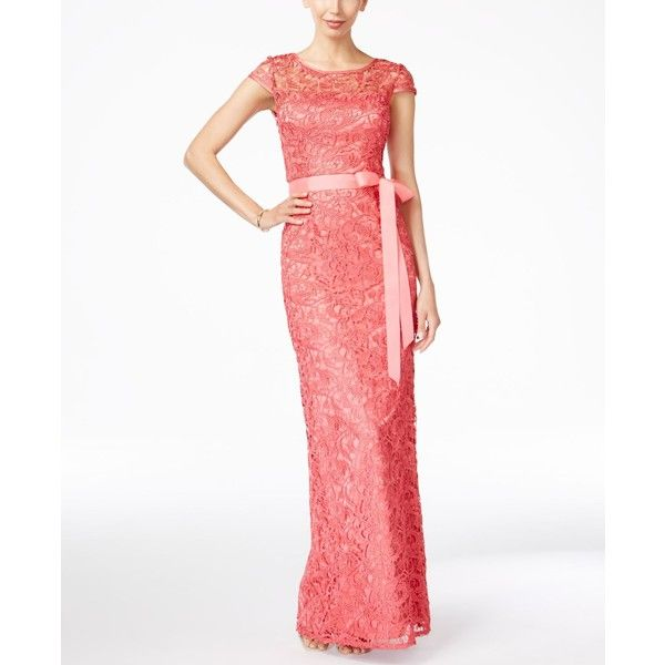 Adrianna Papell Cap-Sleeve Illusion Lace Gown ($229) ❤ liked on ...