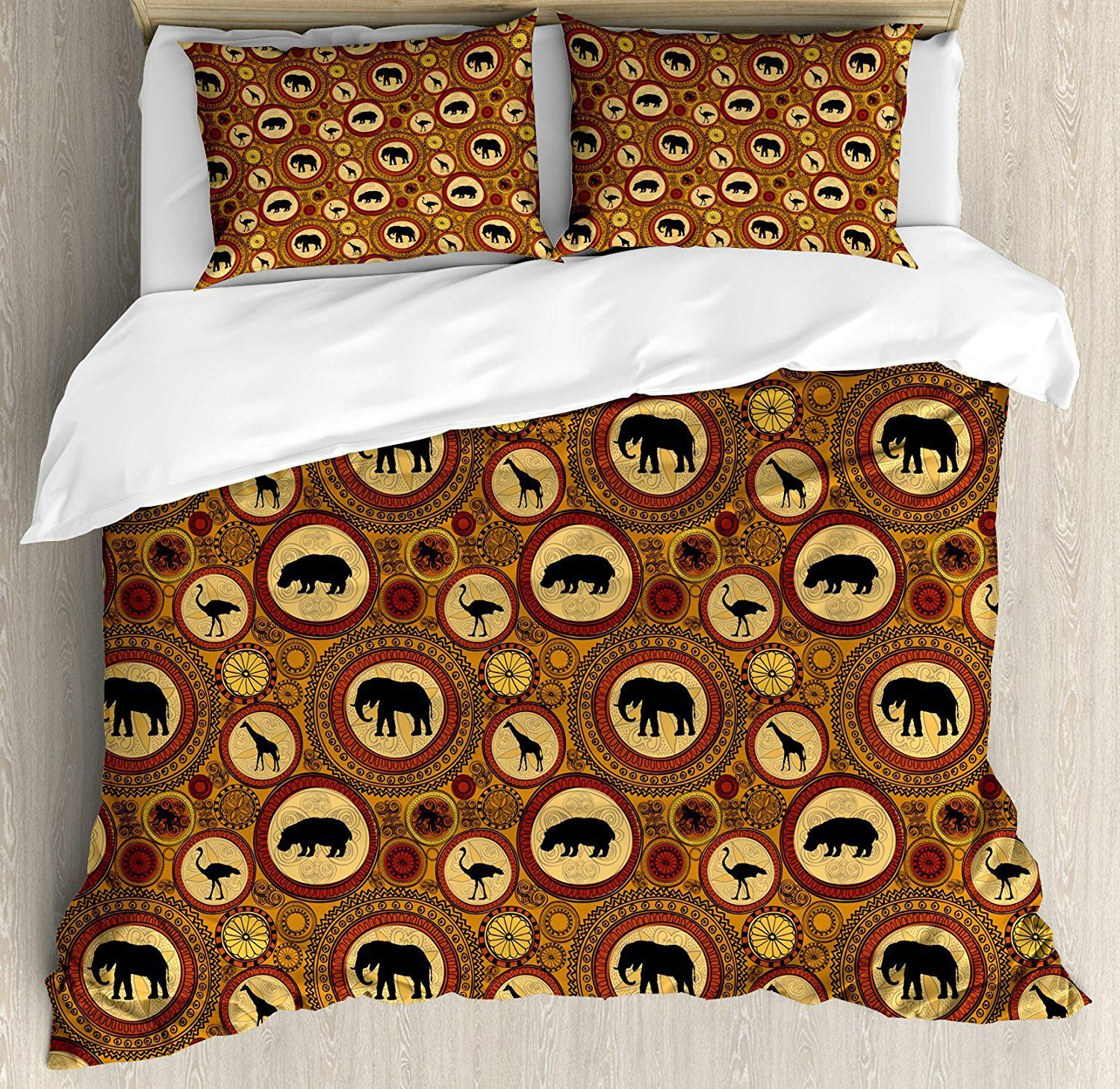Zambia Duvet Cover Set African Ethnic Animals Elephant Camel Giraffe