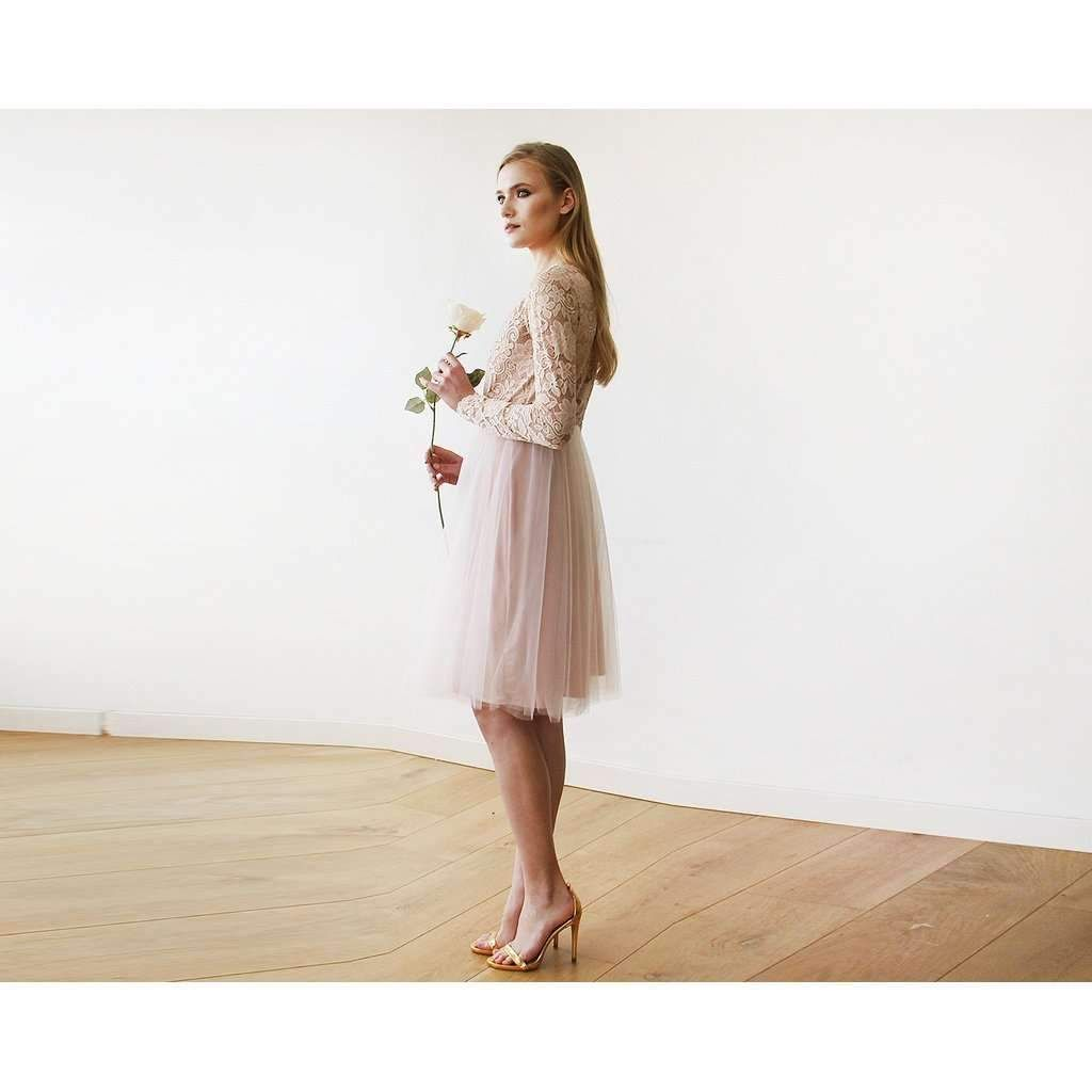 Blush pink tulle u lace midi long sleeves dress products