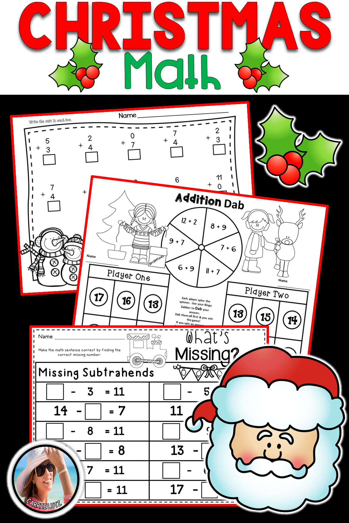 Christmas Math Worksheets Addition Amp Subtraction 40