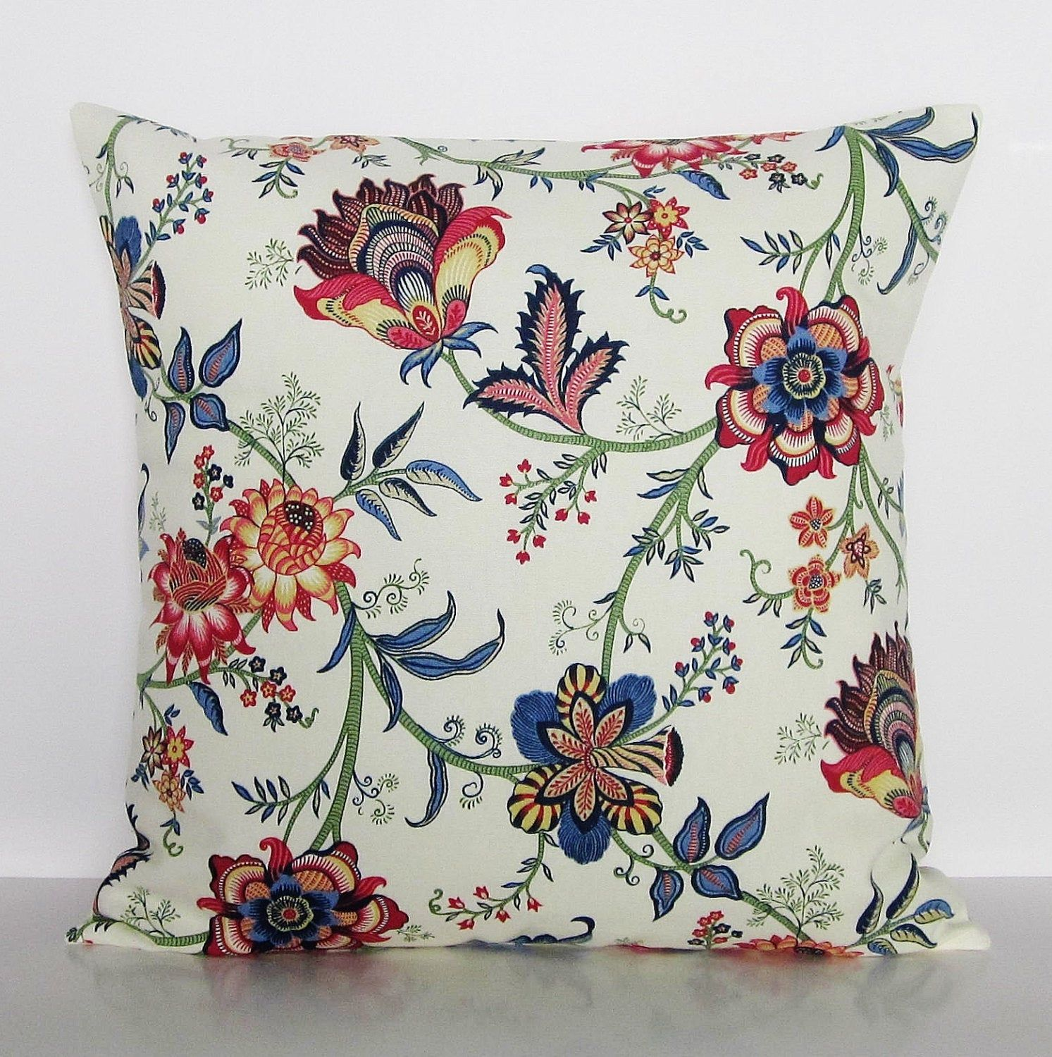 burgundy floral pillow cover navy blue