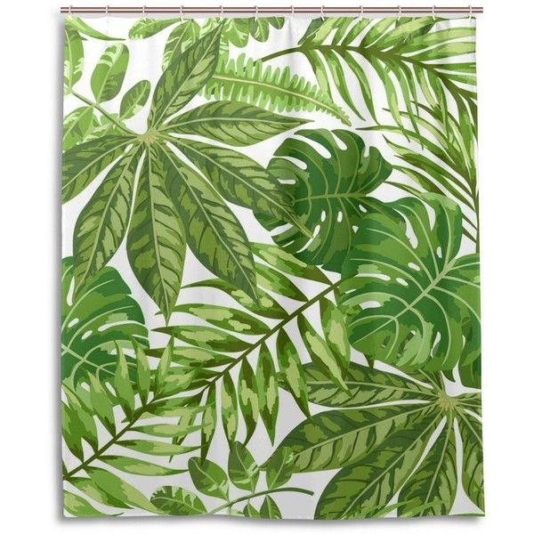 Yuihome Tropical Palm Leaves Shower Curtain, Plant Green Leaves ...