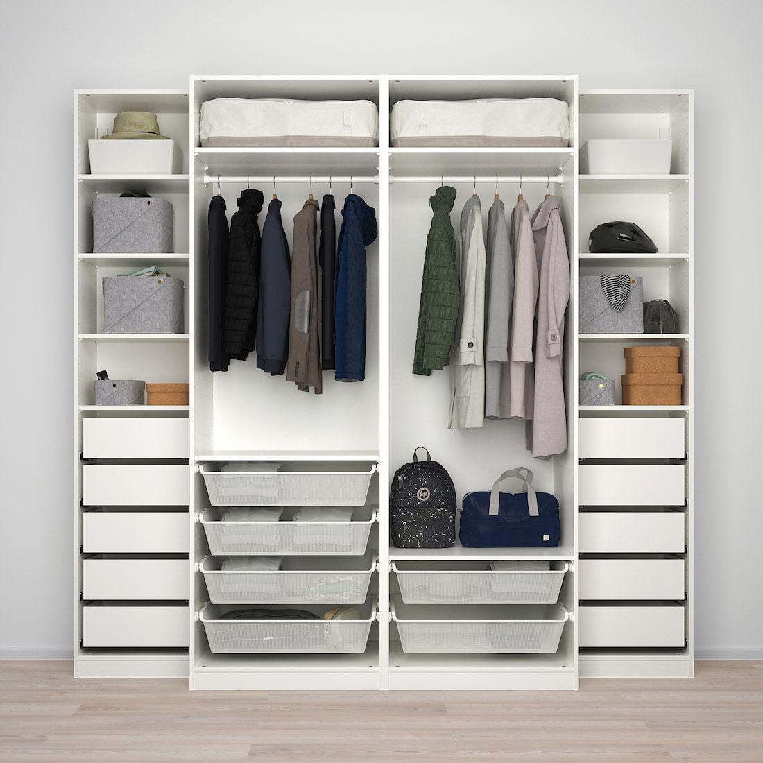 Pax Armario Blanco Mehamn Auli 250x66x236 Cm Ikea In 2020 Pax Wardrobe Ikea Pax Bedroom Built In Wardrobe