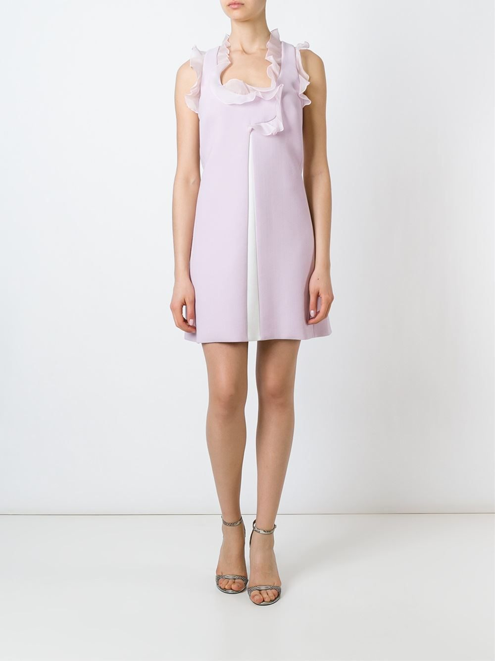 Giambattista Valli ruffle neck and sleeves box panel pleated shift dress