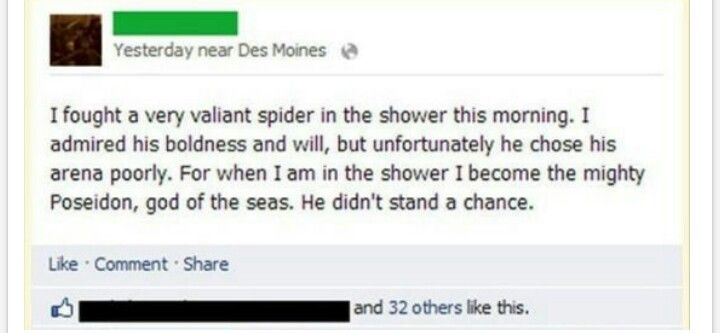Spider in the shower...turn into Poseidon!
