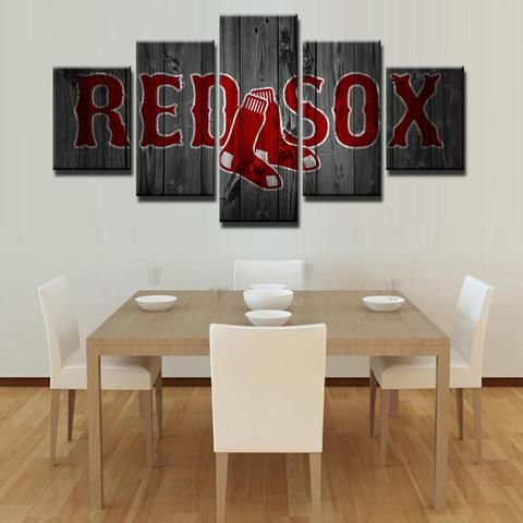 Boston Red Sox Mlb Baseball 5 Panel Canvas Wall Art Home Decor